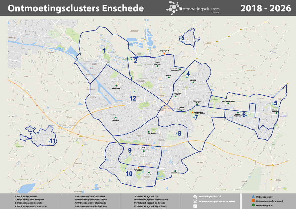 Kaart Ontmoetingsclusters Enschede 2018